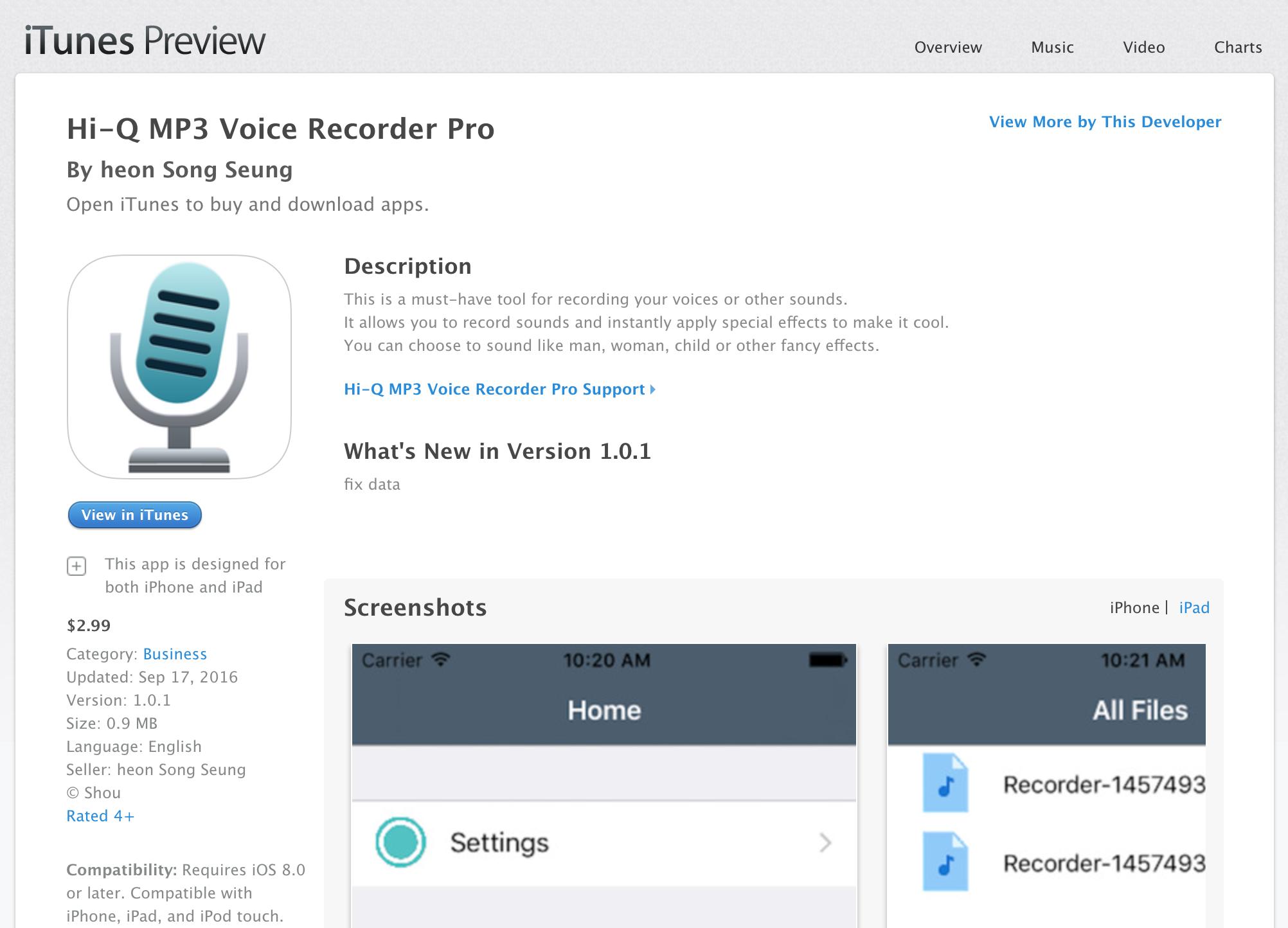 """Beware of fake """"Hi-Q MP3 Voice Recorder"""" on iTunes/iOS App Store"""